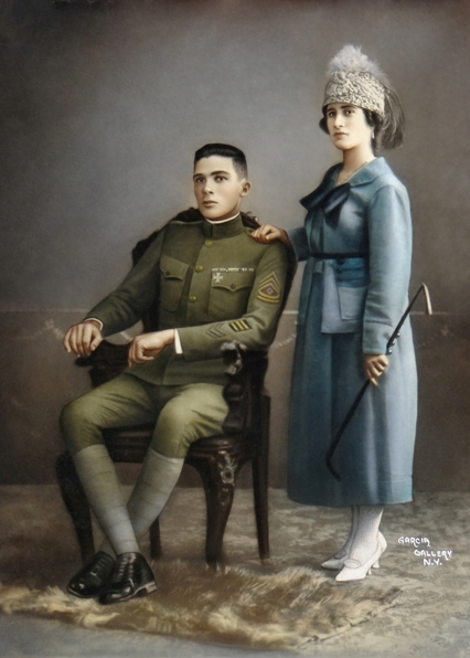 U.S. Army First Sergeant Francisco Valentine-Emeric with his wife, Francisca Valentine (Rico-Gago), circa 1918 in Fort Gulick, Panama Canal Zone.